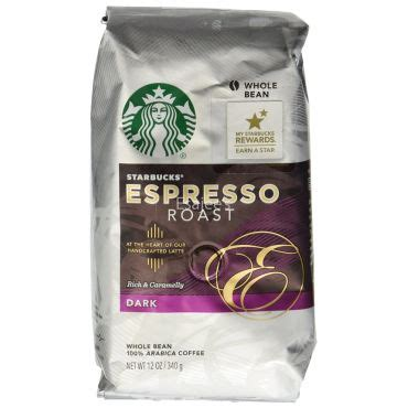 Instant coffee products contain powdered coffee derived from brewed coffee beans that instantly dissolve in water. Starbucks Espresso Whole Bean Dark Roast 100% Arabica Coffee