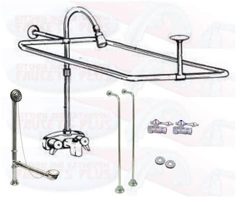 add shower to bathtub faucet chrome clawfoot tub faucet add a shower kit w curtain rod