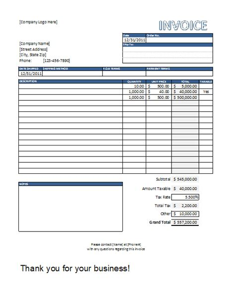 Invoice Template Excel Construction Invoice Template Excel Invoice Exle