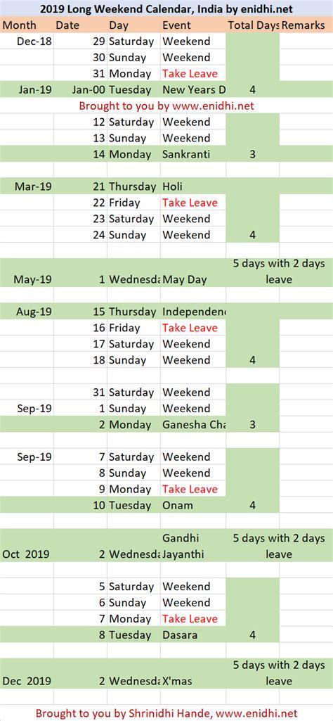 long weekend calendar india plan trips