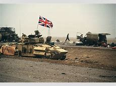 The British flag waves from an armored personnel carrier