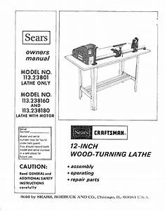 Craftsman 11323801 User Manual 12 Inch Wood Turning Lathe