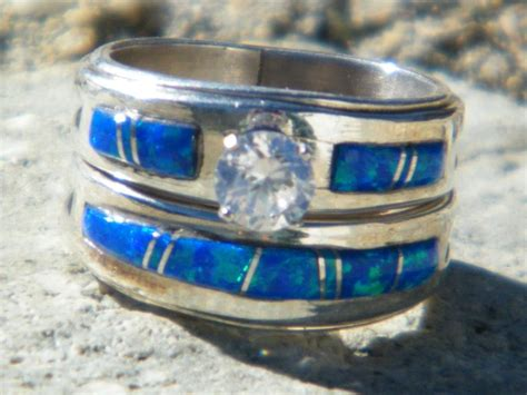 native american indian navajo wedding rings band blue opal