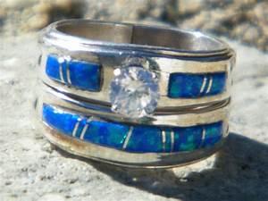 Native american indian navajo wedding rings band blue opal for Navajo wedding rings
