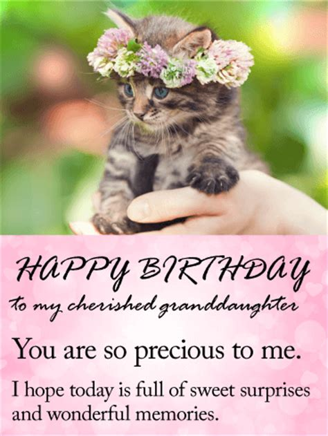 cherished granddaughter happy birthday wishes card