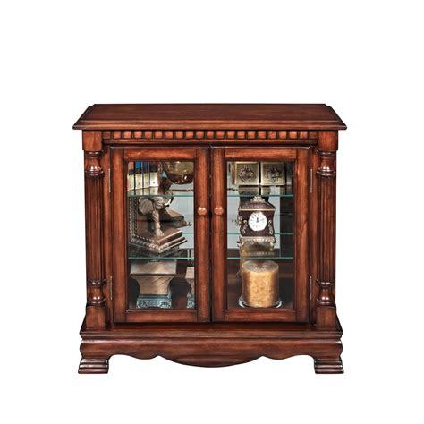 cherry finish small curio cabinet