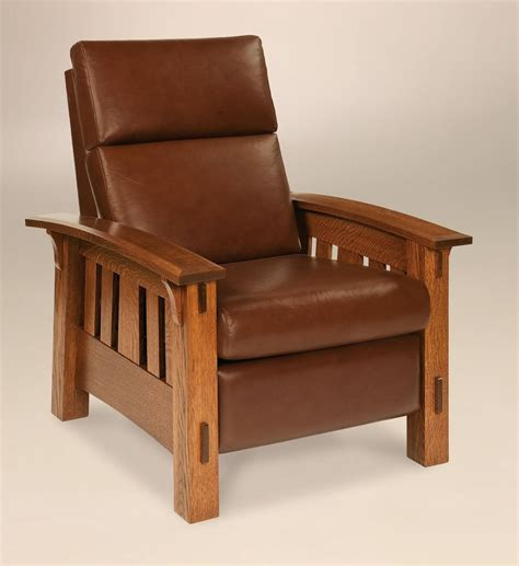 mission leather chair amish mission arts and crafts recliner chair mccoy solid