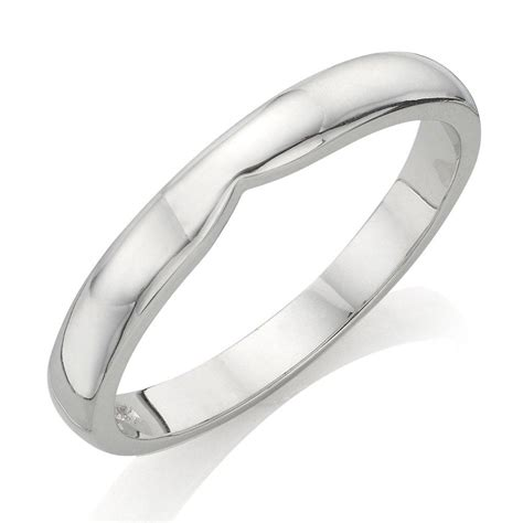 18ct white gold shaped wedding ring 0005100