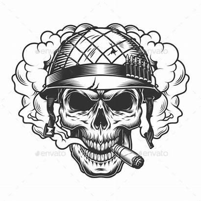 Skull Smoke Cloud Helmet Soldier Vector Drawing