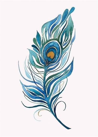 Peacock Feather Watercolor Tattoo Printable Painting Feder