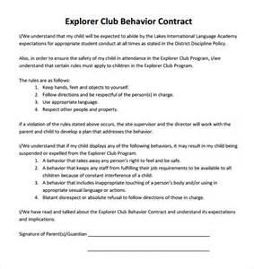 Sample Behavior Contract Template