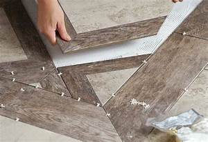 lay out the tile floor pattern at the home depot With diamond cut floors