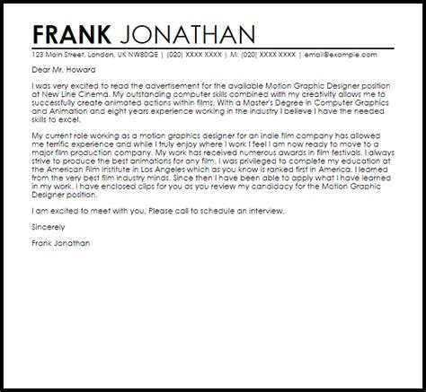 graphic design cover letter motion graphic designer cover letter sle cover letter 7960