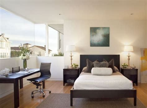 Neat Home Office In Guest Bedroom Design With Open View
