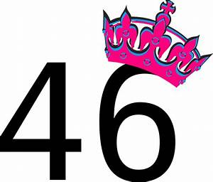 Pink Tilted Tiara And Number 46 Clip Art At