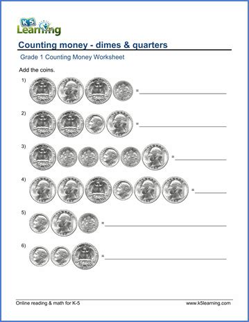 grade 1 counting money worksheets dimes and quarters