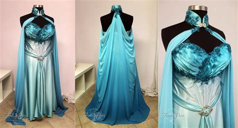 Elven Bridal Gown In Blue And Aqua By Firefly-path On