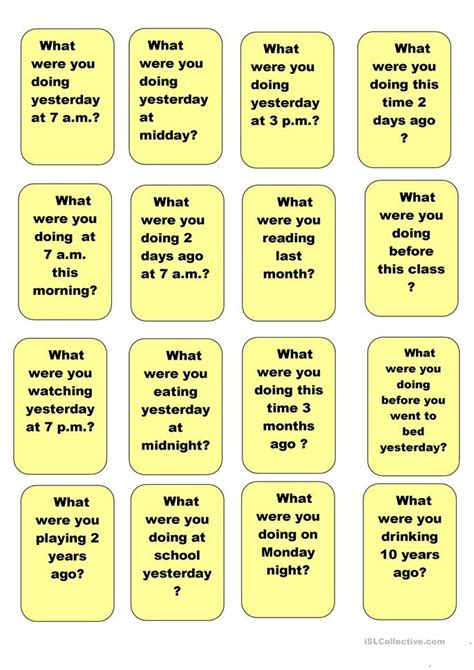 continuous speaking cards worksheet  esl