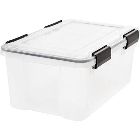 weathertight storage tote iris 19 qt weathertight storage box in clear 6 pack 3371