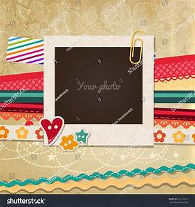 Collage Photo Frame On Vintage Background Stock Vector ...