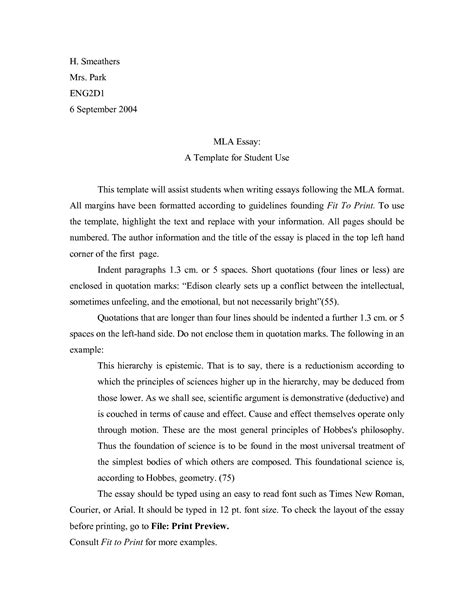 mla format essay mla format template cyberuse