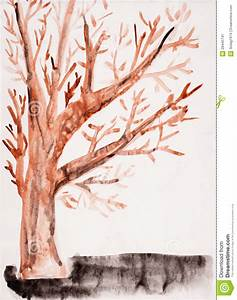 Child's Drawing Watercolor. Autumn Tree Stock Image ...
