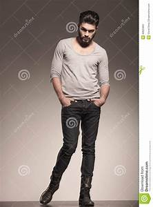 Fashion Model Posing With Hands In His Pockets Stock Photo ...