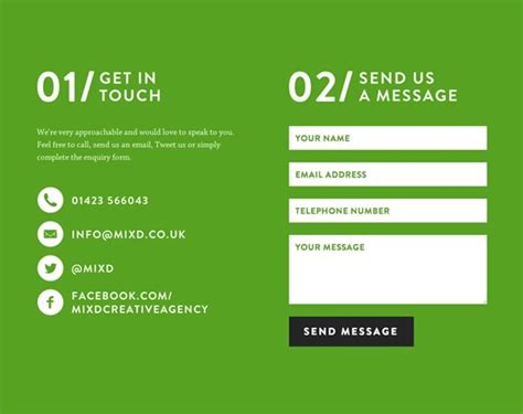 inspiring examples  contact pages  forms web