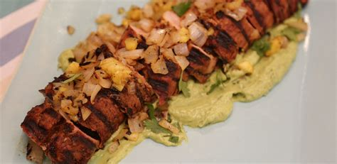 Company pleasing, valentine worthy cajun pork tenderloin smothered in tangy pineapple glaze is sweet and spicy and melt in your mouth tender! Grilled Pork Tenderloin al Pastor with Avocado Crema   Recipe