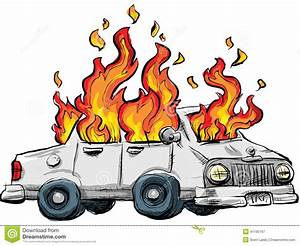 Burning Car stock illustration. Image of cartoon, fiery ...