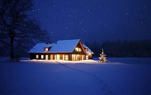 nature, Cabin, Winter, Snow, Night Wallpapers HD / Desktop ...