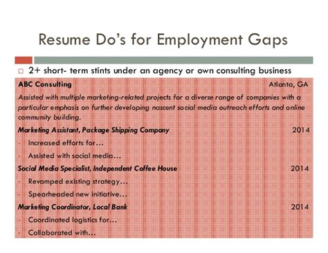 resume employment gaps sle krida info