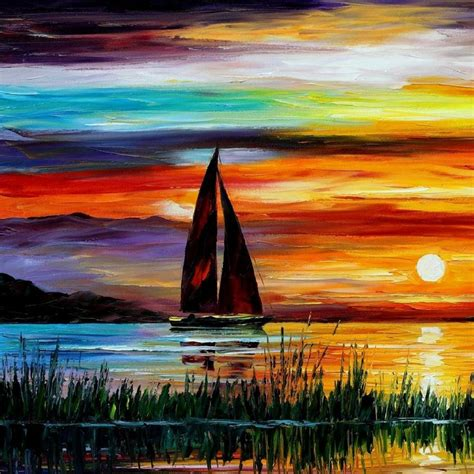 Sailboat Oil Painting by Sunset Paintings Leonid Afremov Sailboats Oil Painting