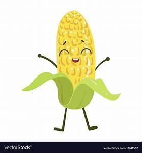 Corn cute anime humanized smiling cartoon Vector Image