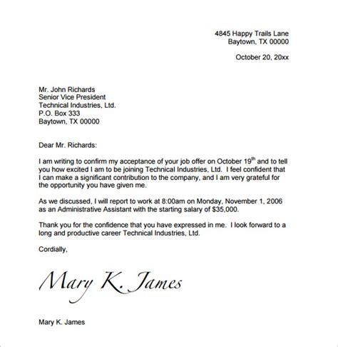 sample job acceptance letter   documents   word