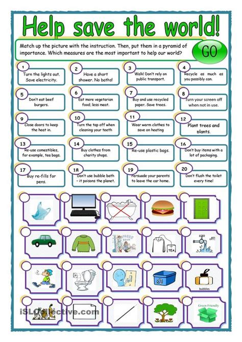 save our world esl worksheets of the day