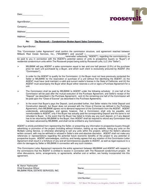 Sales Commission Letter Template by 6 Best Images Of Commission Agreement Letter Sales