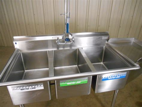 used three compartment sink used nsf 3 compartment sink w sprayer dish shelf