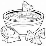 Coloring Bowl Avocado Nachos Guacamole Printable Chips Chili Colorear Dip Clip Clipart Stomach Illustrations Colouring Aguacate Vectors 30seconds Stockakia Kolorowania sketch template