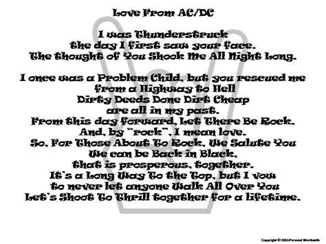 rock  roll wedding vows funny wedding poem short