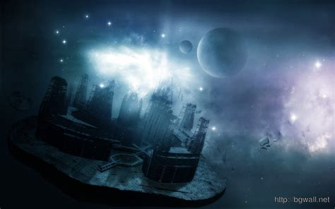 floating city  space wallpaper background