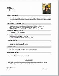 electronics student resume format With cv format for student