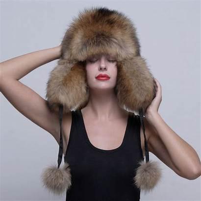 Russian Raccoon Fur Hat Ball Ushanka Trapper