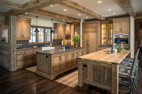 transitional dining room rustic wood countertops kitchen rustic with beige wall