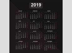 Year 2019, Calendar Vector Background Download Free