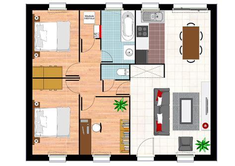 plan maison plain pied 2 chambres garage plan de maison 2 chambres sans garage