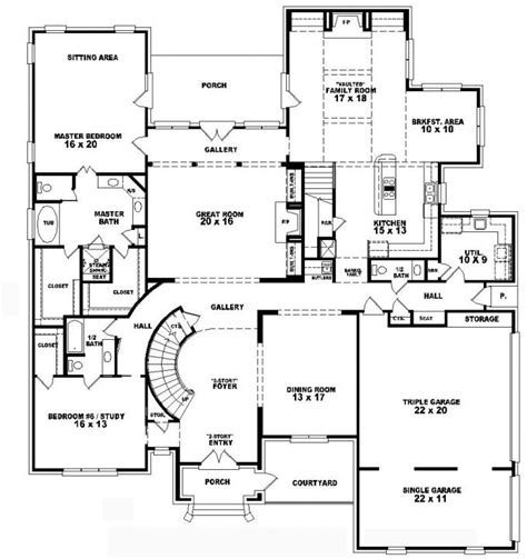 2 story house plans with 4 bedrooms 653756 two story 5 bedroom 4 5 bath french style house plan house plans floor plans home