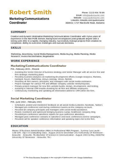 Marketing Coordinator Resume Summary by Marketing Communications Coordinator Resume Sles