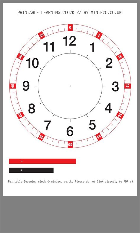 printable learning clock math instruction