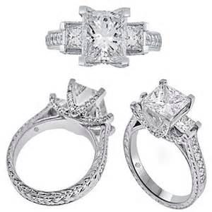 3 princess cut engagement rings 3 44 carat egl princess cut etched three engagement ring